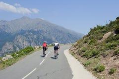 Ciclisti sulla strada della montagna in Corsica, Francia Fotografie Stock