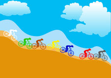 Ciclisti variopinti Fotografie Stock