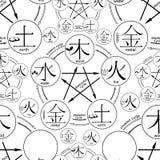 Ciclo cinese della generazione dei cinque elementi di base Immagini Stock Libere da Diritti