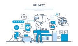 Ciclo completo di ordinazione, acquisto delle merci, consegna, prodotti del trasporto illustrazione vettoriale