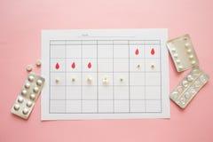 Ciclo da ovula??o, conceito Calend?rio por um m?s, marcador da ovula??o e o ciclo menstrual foto de stock royalty free
