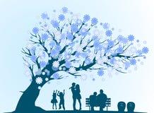 Ciclo de la gente de la vida con la silueta azul decorativa del árbol Fotos de archivo libres de regalías