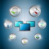 Ciclo de la opción de los ajustes de los ordenadores portátiles Imagen de archivo