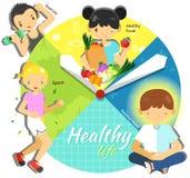 Ciclo de uma vida saudável para o homem e a mulher no vário infogr do tempo Imagens de Stock Royalty Free