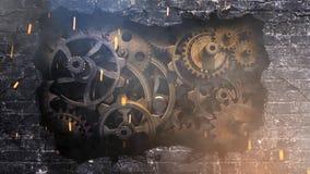 Ciclo degli ingranaggi 4K di esplosione del muro di mattoni archivi video