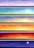 Ciclo del día - seis paisajes en diverso tiempo libre illustration
