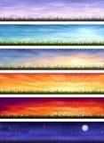 Ciclo del día - seis paisajes en diverso tiempo ilustración del vector