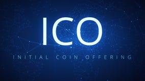 Ciclo del fondo del hud dell'estratto di tecnologia di ICO Blockchain stock footage