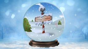 Ciclo del globo 4K della neve di Buon Natale del polo nord royalty illustrazione gratis