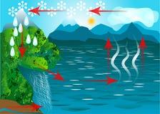 Ciclo dell'acqua Immagini Stock
