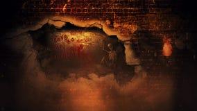 Ciclo di scheletro 4k del muro di mattoni sanguinoso di Halloween video d archivio