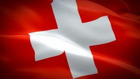 Ciclo di Wave della bandiera della Svizzera che ondeggia in vento Fondo svizzero realistico della bandiera Primo piano di ciclagg illustrazione vettoriale