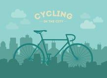 Ciclo en la ciudad Ejemplo plano del estilo Foto de archivo