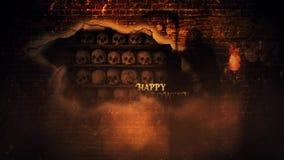 Ciclo felice del reaper torvo 4K del muro di mattoni di Halloween stock footage