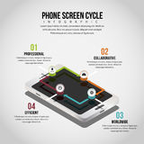 Ciclo Infographic de la pantalla del teléfono Fotos de archivo