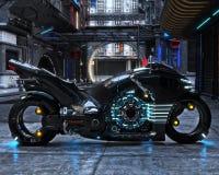 Ciclo ligero futurista en la exhibición La motocicleta se exhibe con un fondo urbano futurista