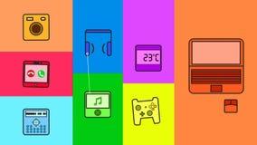 Ciclo quadrato delle icone dell'aggeggio stock footage