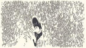 Ciclo que camina con enmarcar en los pies stock de ilustración