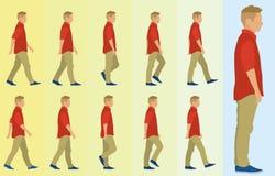 Ciclo que camina del muchacho adolescente Fotos de archivo