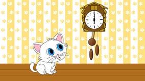 Ciclo senza cuciture di sorveglianza 4k UHD dell'orologio di cuculo del gattino illustrazione vettoriale