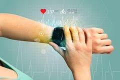 Ciclo y concepto del smartwatch fotos de archivo libres de regalías