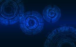 Ciclos abstractos en estilo de alta tecnología Fondo azul marino, elementos que brillan intensamente Imagen de archivo