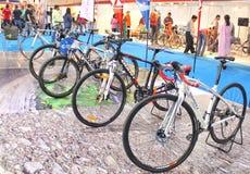 Ciclos gigantes indicados em uma exposição Imagens de Stock Royalty Free