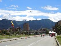 Ciclovia的看法在波哥大,哥伦比亚 库存照片