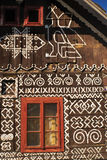 Cicmany. Painted facade of traditional wooden house in Slovakia in famous village of Cicmany Stock Image