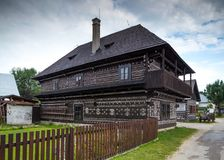 Beautyful house covered with decorations in Cicmany. Cicmany, Slovakia - august 02, 2015: Old wooden houses in Slovakia village Cicmany, traditional painted with Royalty Free Stock Photo