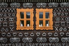 Cicmany village in Zilina region. Windows of a traditional log cabin in Zilina region, Slovakia royalty free stock photos