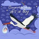 Cicogna che porta un bambino sveglio in una borsa Ciò è un modello della carta di annuncio del neonato del ragazzo Cartolina di v illustrazione di stock