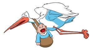 Cicogna che trasporta un bambino Immagine Stock