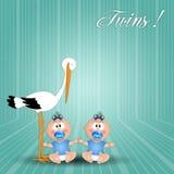 Cicogna con i ragazzi gemellati Fotografia Stock