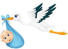 Cicogna con il neonato Immagini Stock