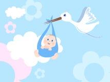 Cicogna con l'infante Fotografia Stock