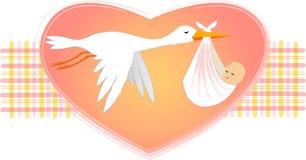 Cicogna con la neonata/ENV Immagini Stock Libere da Diritti
