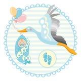 Cicogna del fumetto con il bambino Modello di progettazione per la cartolina d'auguri Immagini Stock