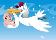 Cicogna e bambino appena nato Immagini Stock Libere da Diritti