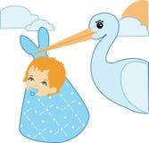 Cicogna e neonato Immagini Stock Libere da Diritti