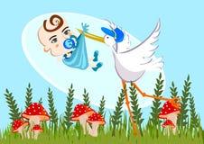 Cicogna e neonato Immagini Stock
