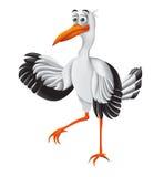Cicogna, personaggio dei cartoni animati divertente Illustrazione di vettore Fotografie Stock Libere da Diritti