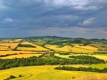 On the Cicov hill in Central Bohemian Uplands, Czech Republic. Before storm. Nature monument stock photography