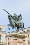 Cid Babieca Tizona. Statue of Cid Campeador riding his horse babieca and holding his sword tizona Stock Photo