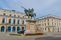 Cid Campeador. BURGOS, SPAIN - JULY 5: Cid Campeador equestrian statue in the city of Burgos, on July 5, 2014. Rodrigo Diaz de Vivar was the Cid Campeador Stock Photo
