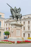 Cid riding Babieca. BURGOS, SPAIN - JULY 5: Cid Campeador riding babieca. Equestrian statue in the city of Burgos, on July 5, 2014. Rodrigo Diaz de Vivar was the Stock Photography