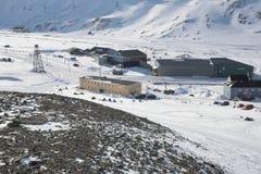 A cidade ártica de Longyearbyen - Spitsbergen Fotos de Stock Royalty Free