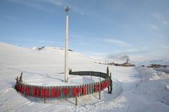 A cidade ártica do russo de Barentsburg-Spitsbergen Imagens de Stock