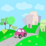 cidade ââcar e casas Imagem de Stock Royalty Free
