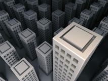 Cidade 3D escura Imagens de Stock Royalty Free